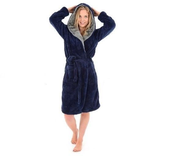 Tmavě modrý dámský župan s kapucí velikost M
