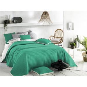 Oboustranný zelený přehoz na postel 220 x 240 cm