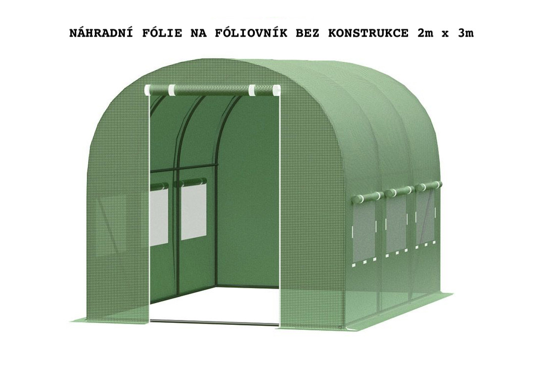 UV plachta na fóliovník s otvory na dveře a okna bez konstrukce 2x3m