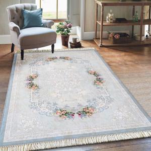 Protiskluzový koberec s květinkami v modré barvě