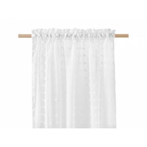 Bílá záclona CASABLANCA se vzorem kuliček 140 x 250 cm