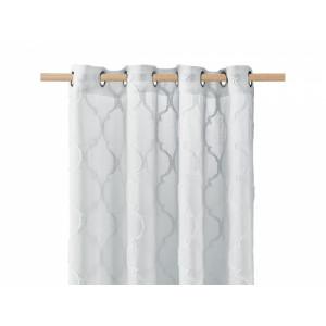 Světle šedá skandinávská záclona na kruhy 140 x 250 cm