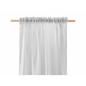 Světle šedá záclona se zavěšením na tyč 140 x 250 cm