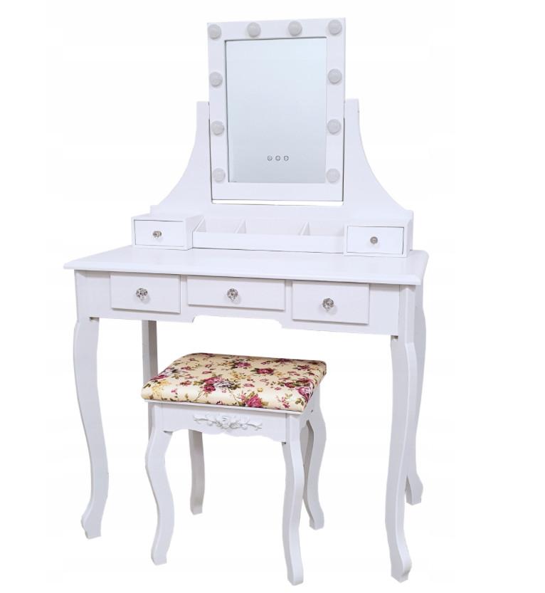 Toaletní stolek se zrcadlem se zabudovanými led světýlky