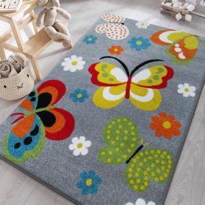 Šedý koberec do dětského pokoje s motýlky