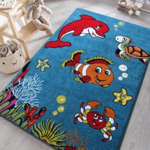 Krásný dětský koberec s rybičkami
