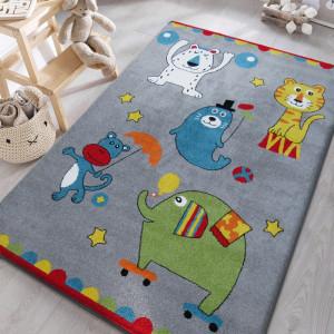 Šedý dětský koberec s veselými obrázky