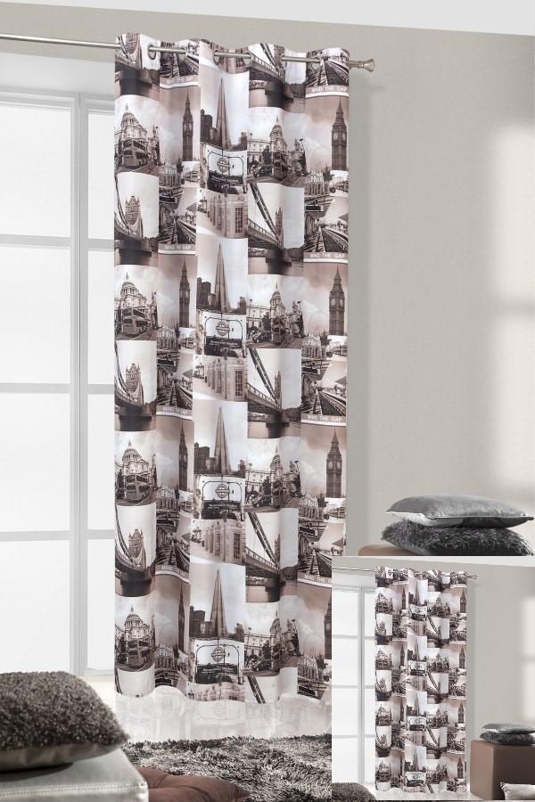Bílo-hnědý závěs do pokoje s fotografiemi z Londýna BIG BEN