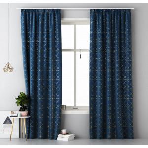Modré škadinávske závěsy na řasící pásku 140 x 280 cm