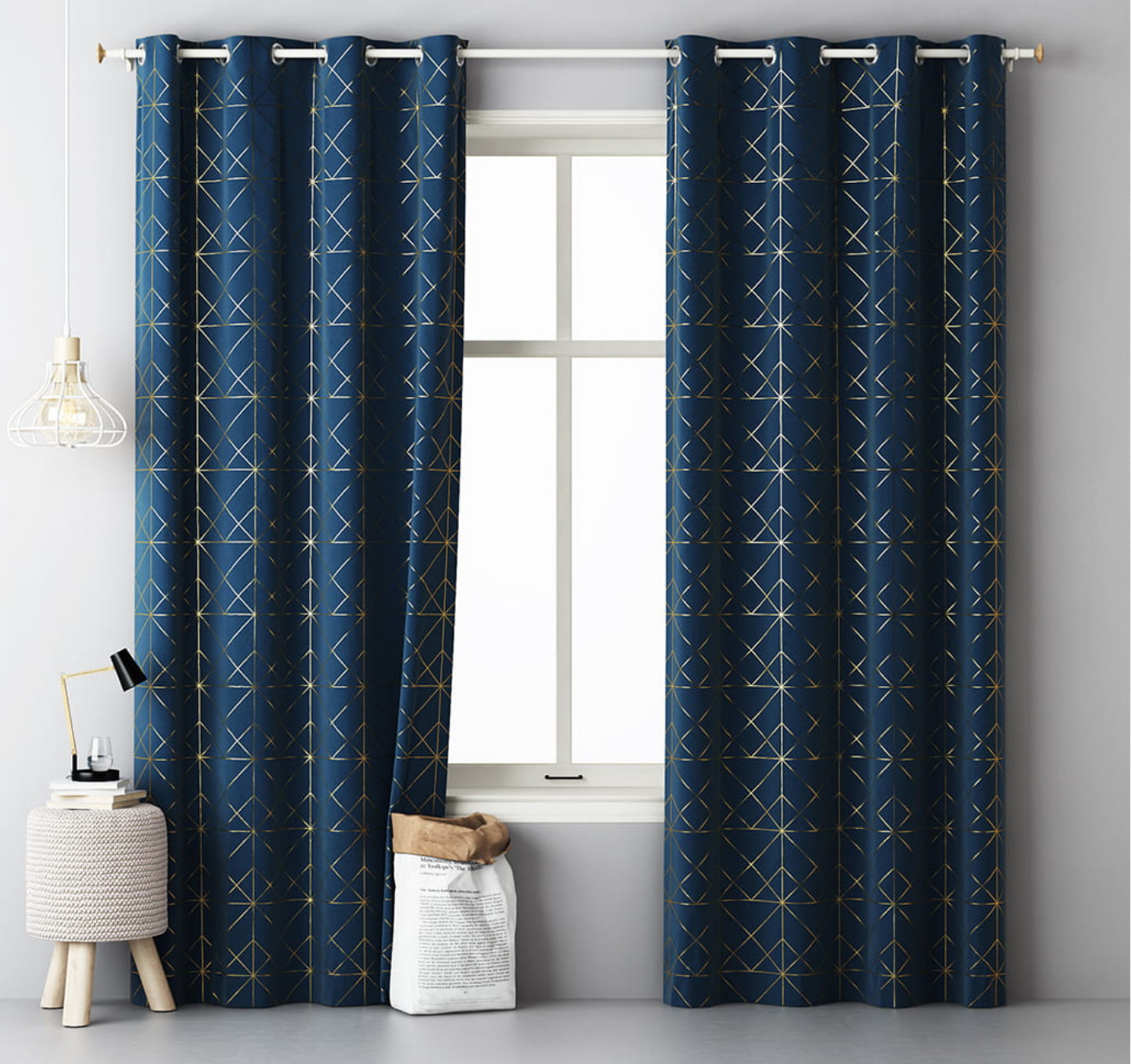 Modré škadinávske závěsy se zlatým vzorem 140 x 280 cm