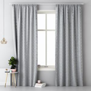 Světle šedý skandinávský závěs na kolíčky 140 x 280 cm