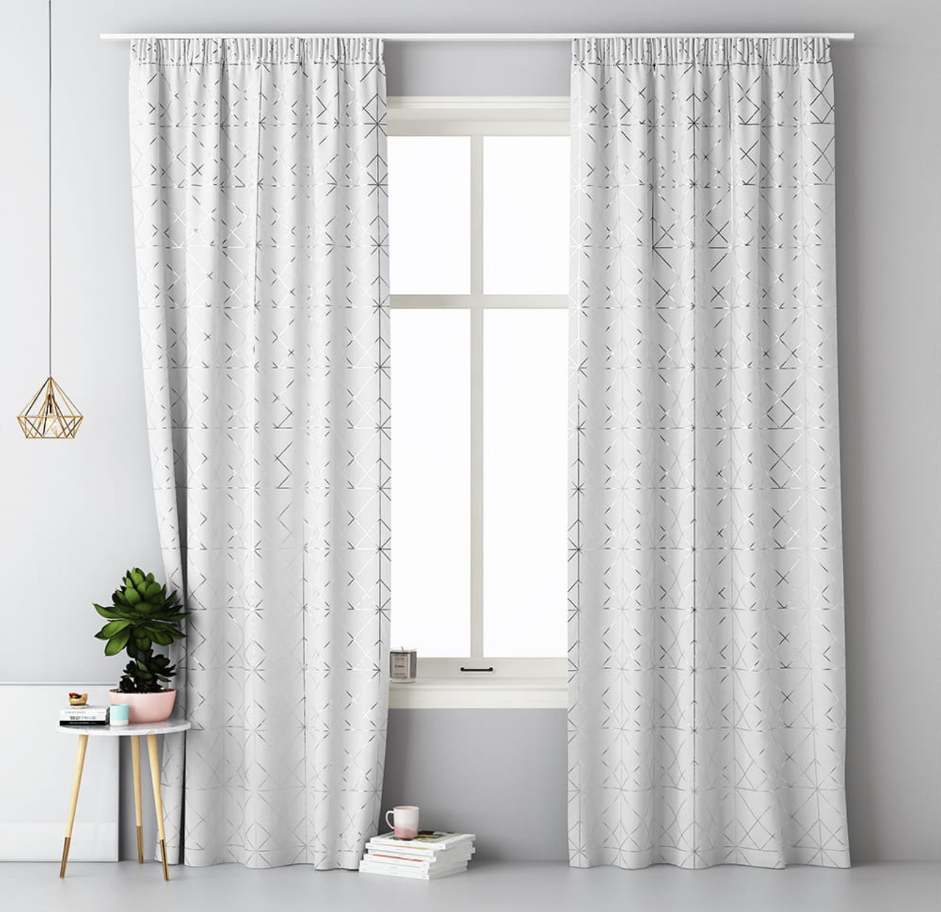 Krásné bílé hotové závěsy na kolíčky 140 x 280 cm