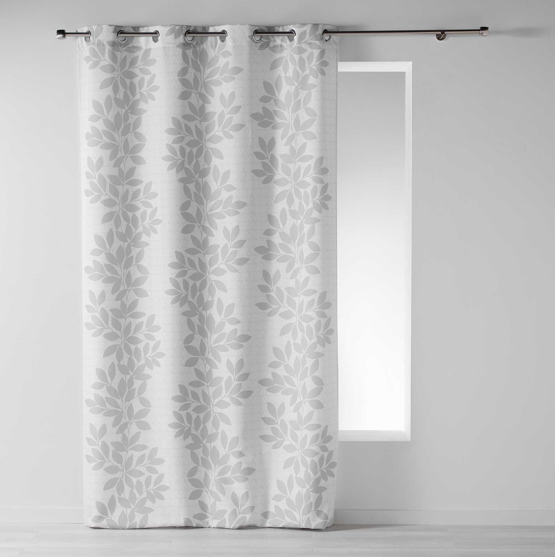 Kvalitní závěs bílé barvy s šedými lístky 140 x 260 cm