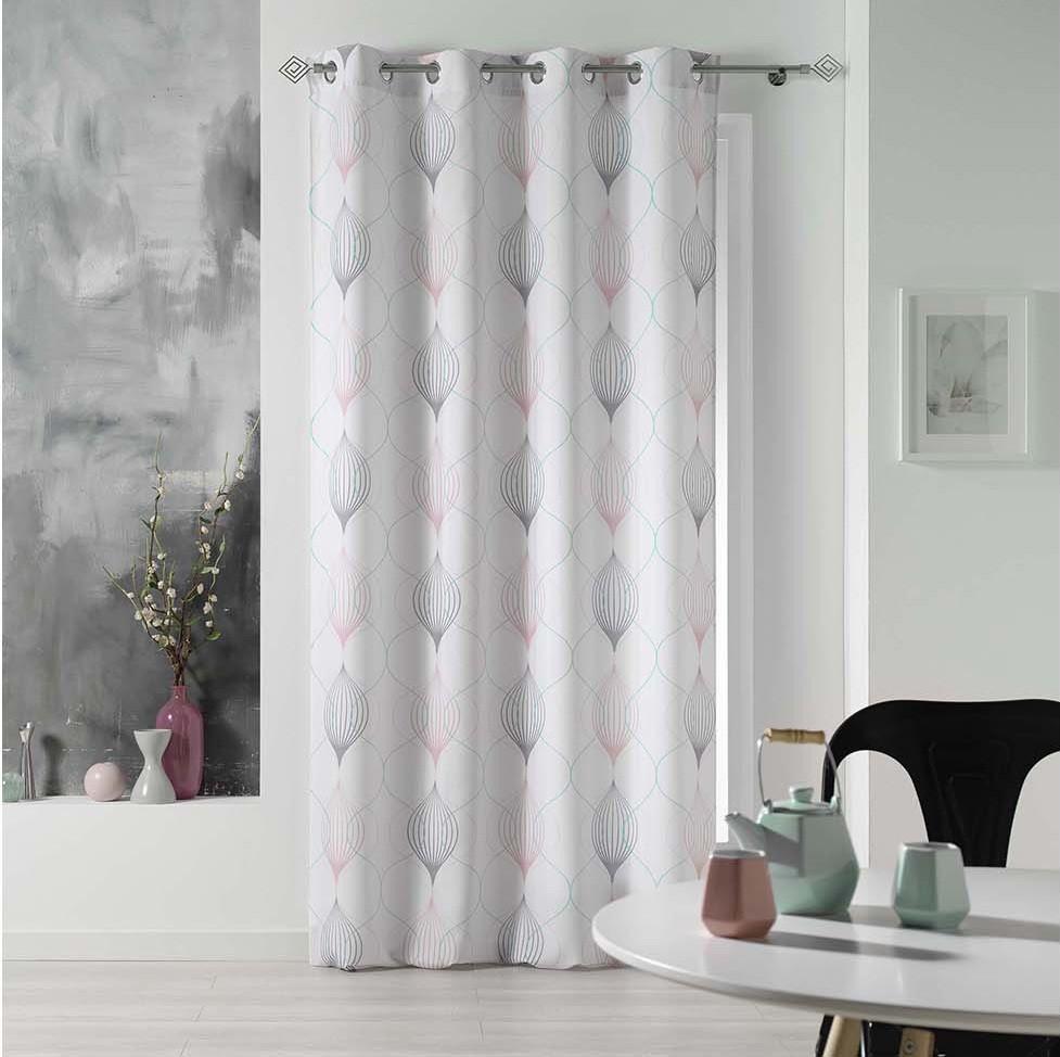 Bílé závěsy na okna s jemným vzorem 140 x 260 cm