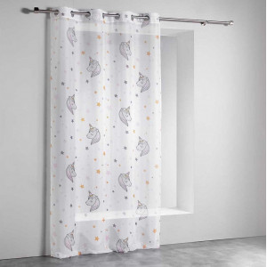 Jemná dětská záclona s jednorožci 140 x 260 cm