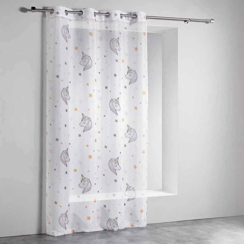 Jemná dětská záclona s jednorožci 140 x 240 cm