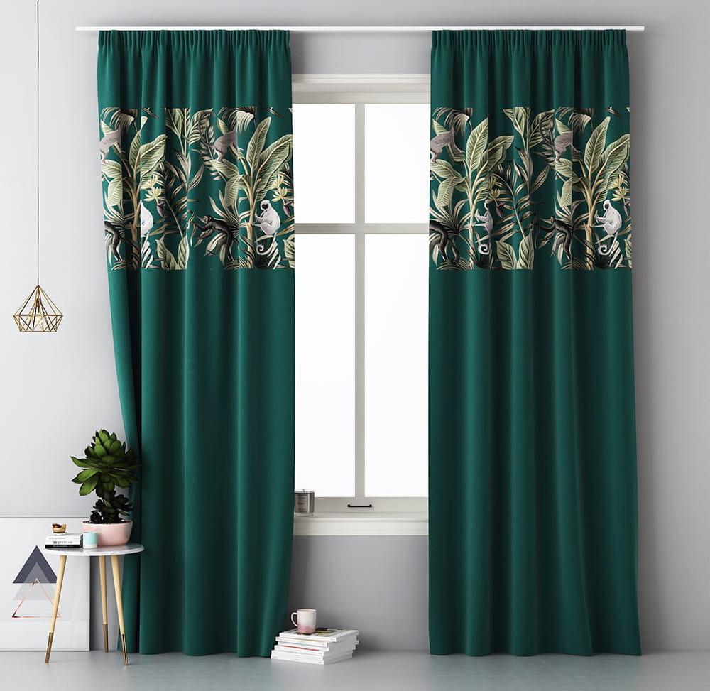 Kvalitní zelený závěs na okno se zavěšením na kolíčky 140 x 250 cm