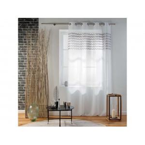 Krásná bílá záclona na kruhy se šedým vzorem 140 x 280 cm