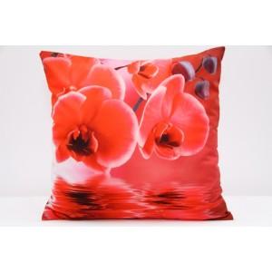 Luxusní povlak na polštář s motivem červená orchidej