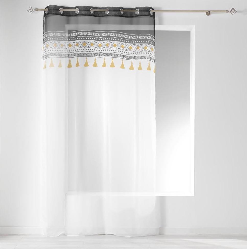 Bílá záclona s dekoračním vrchem 140 x 240 cm