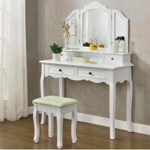 Toaletní stolek s otevíracím zrcadlem a taburetem