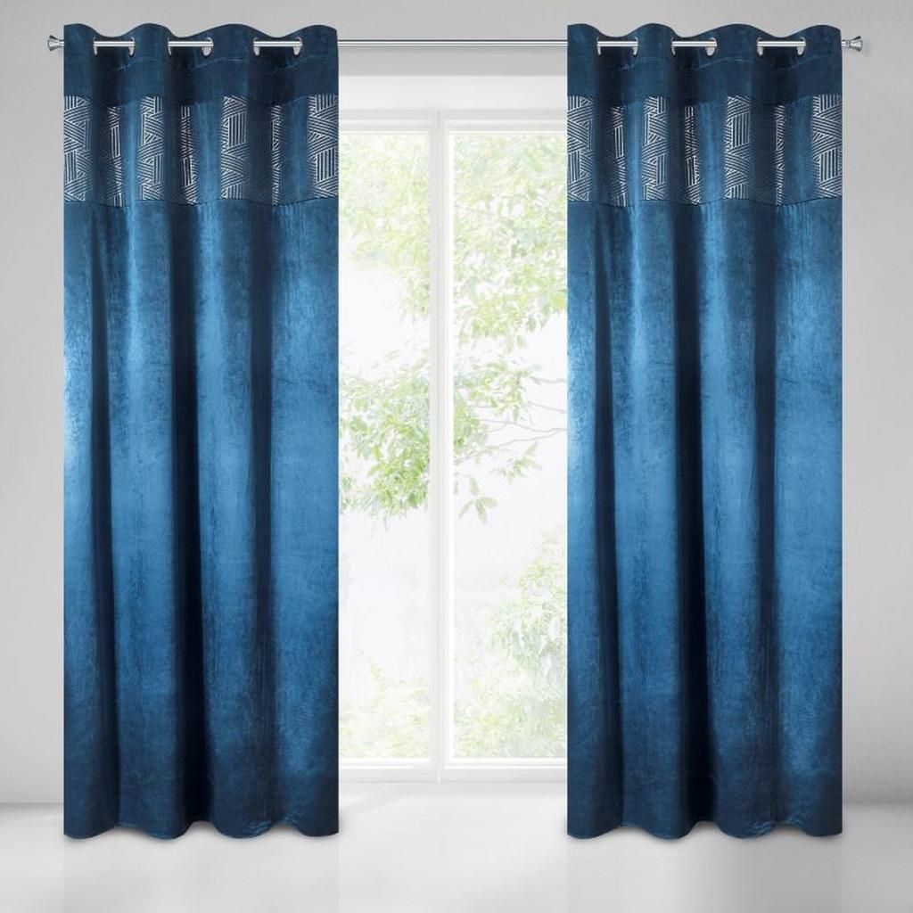 Tmavě modrý zatemňovací závěs na kruhy 140 x 250 cm