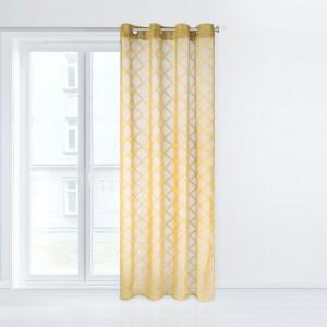 Krásná žlutá záclona na okna se zavěšením na kruhy 140 x 250 cm