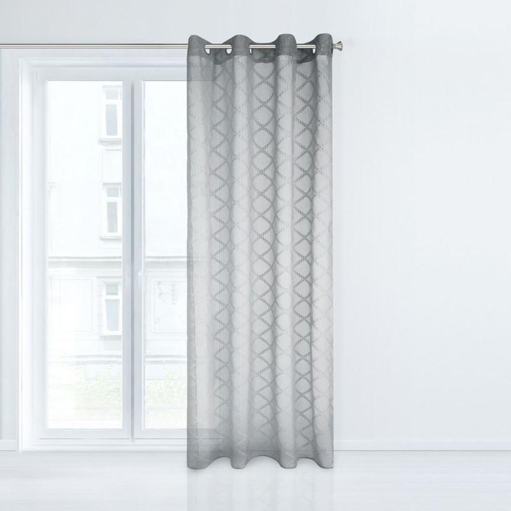 Stylová záclona v šedé barvě s ornamentem 140 x 250 cm