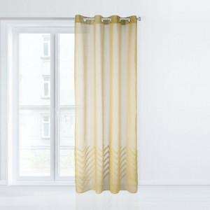 Stylová žlutá záclona se vzorem na spodní části 140 x 250 cm