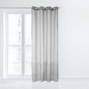 Záclona v šedé barvě se zavěšením na kruhy 140 x 250 cm