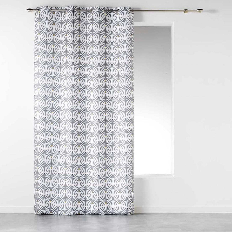 Skandinávský bílý vzorovaný závěs na kruhy 140 x 260 cm