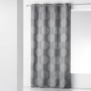 Skandinávský šedý závěs s motivem kruhů 140 x 260 cm