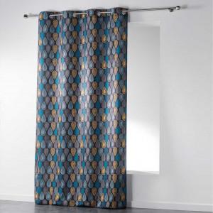 Šedý skandinávský závěs s barevným motivem 140 x 260 cm