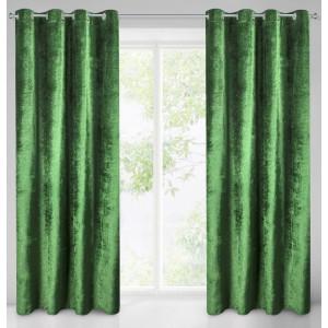 Stylový zelený závěs na okno s jemnými třpytkami 140 x 250 cm