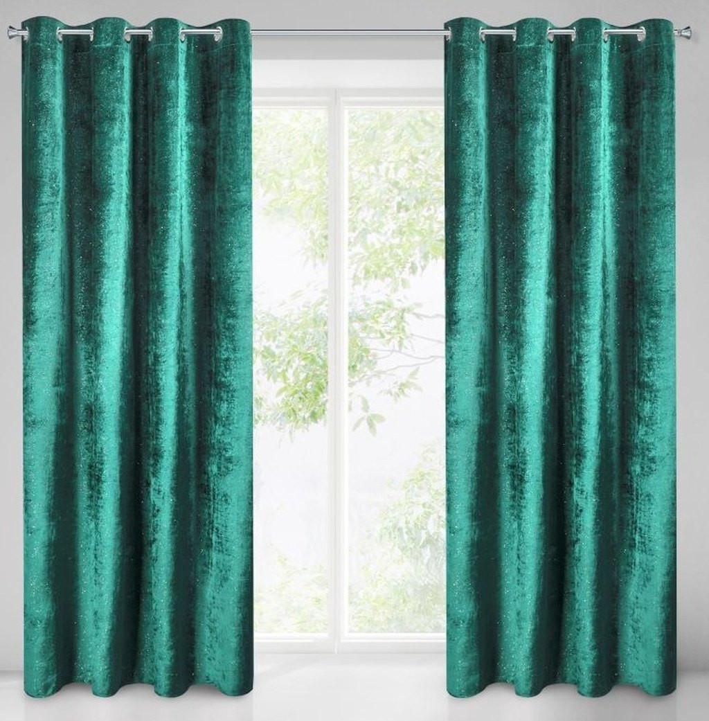 Elegantní zelený závěs s třpytkami 140 x 250 cm