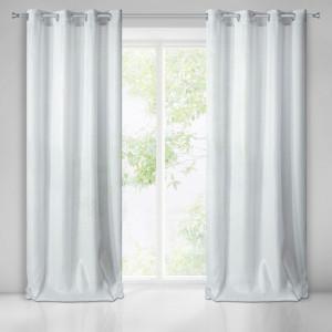 Lesklý bílý závěs na okno se zavěšením na kruhy 140 x 250 cm