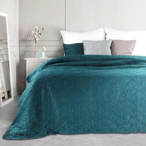 Luxusní přehoz na postel v tmavé tyrkysové barvě