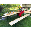 Dřevěný zahradní stůl se dvěma lavičkami 50 x 220 cm