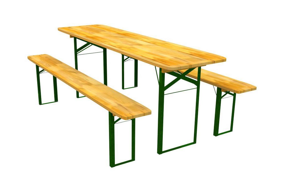 Stůl na zahradu se dvěma lavičkami 60 x 220 cm
