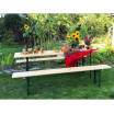 Komplet dřevěných laviček a pevného stolu 70 x 220 cm