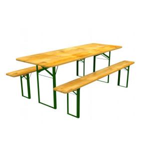 Velký zahradní stůl s borovicového dřeva s lavičkami 80 x 220 cm