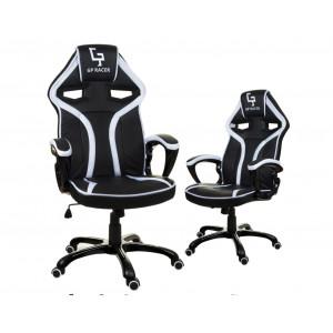 Kancelářské křeslo černé barvy s bílým lemem na kolečkách