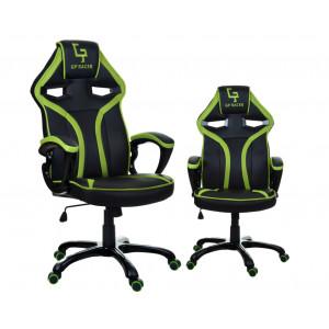 Černé kancelářské křeslo s výrazným zeleným lemováním