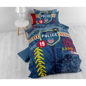 Modré povlečení pro chlapce POLICE 140 x 200 cm