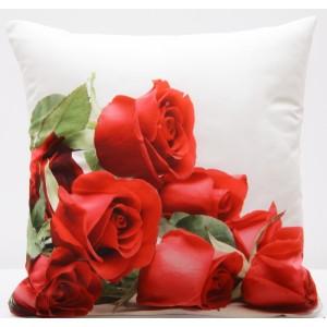 Povlak na polštář 3D s potiskem s motivem červená růže
