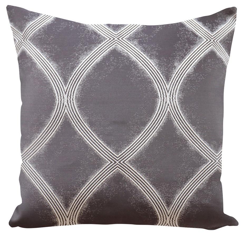 Dekorační šedý povlak na polštář s bílými ornamenty