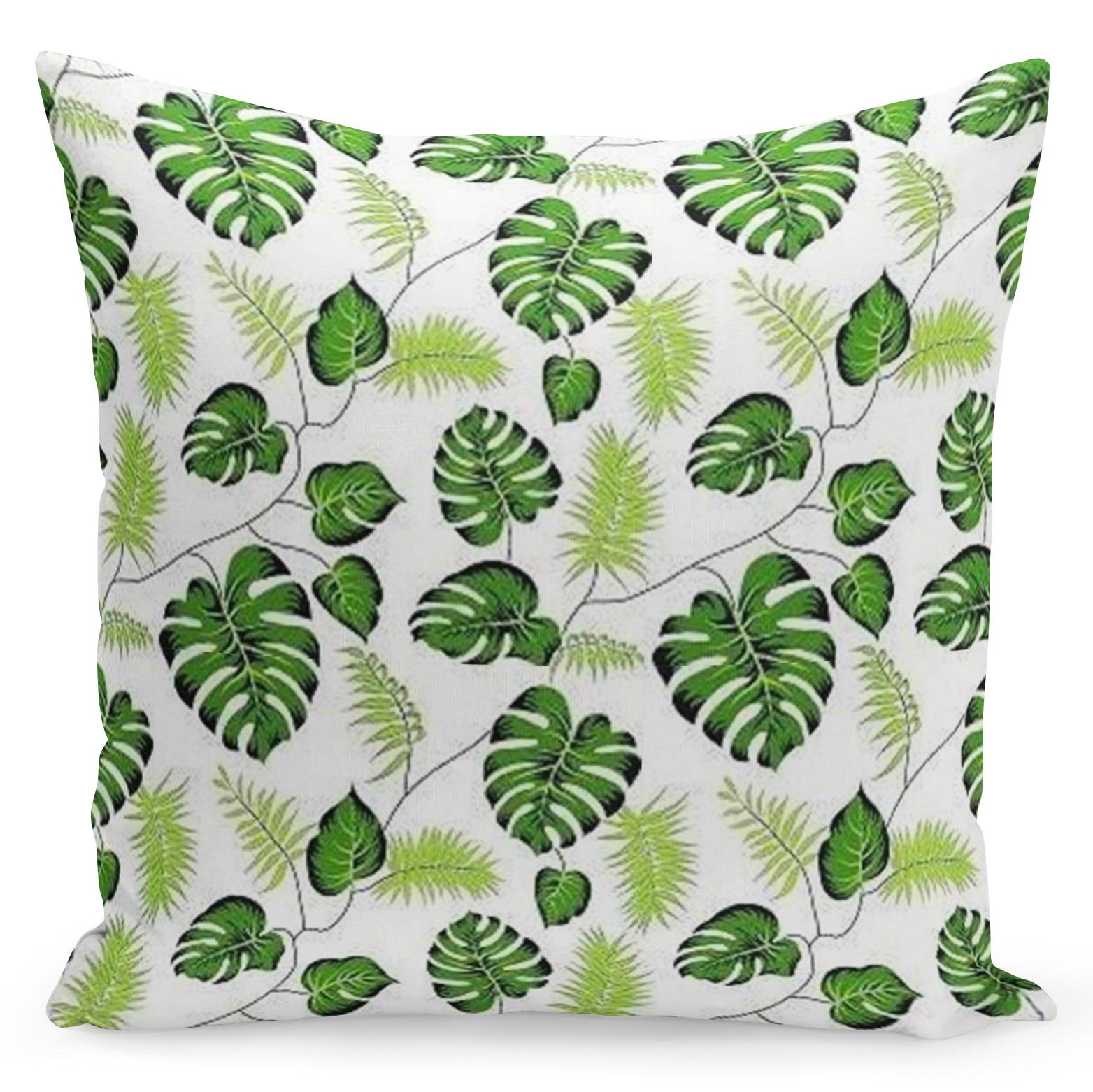 Krémový povlak s zelenými listy