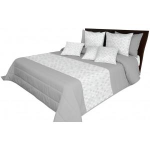 Šedý elegantní přehoz na postel se vzorem