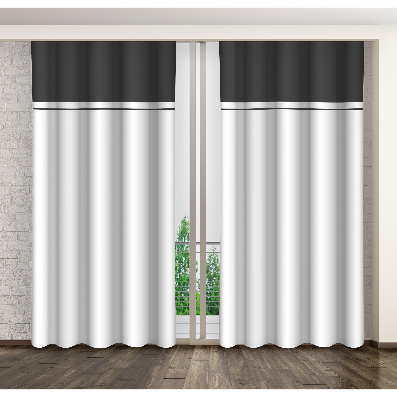 Bílo šedý dekorační závěs se zavěšením kolíčky