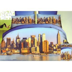 Světlemodré povlečení na jednolůžka s mrakodrapy velkoměsta u jezera